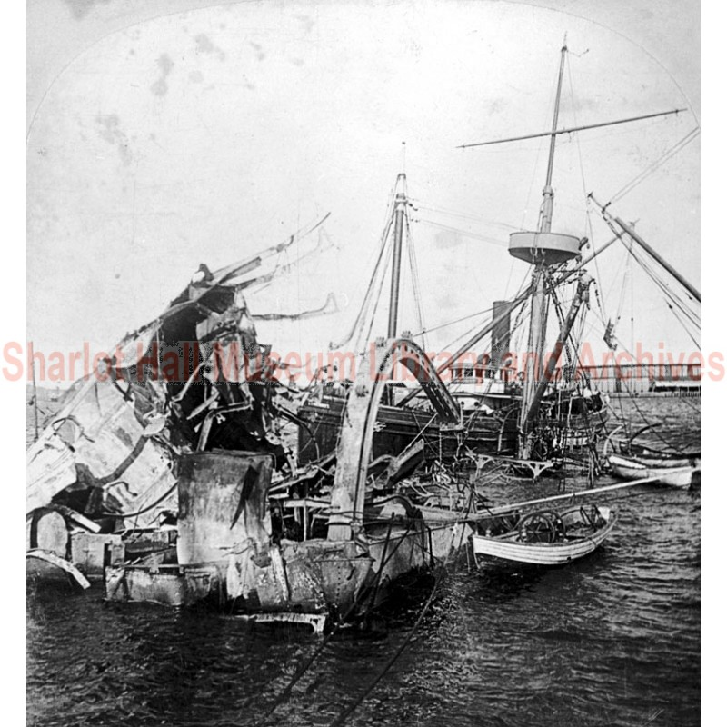 Wreckage of Battleship USS Maine, Havana, Cuba Harbor