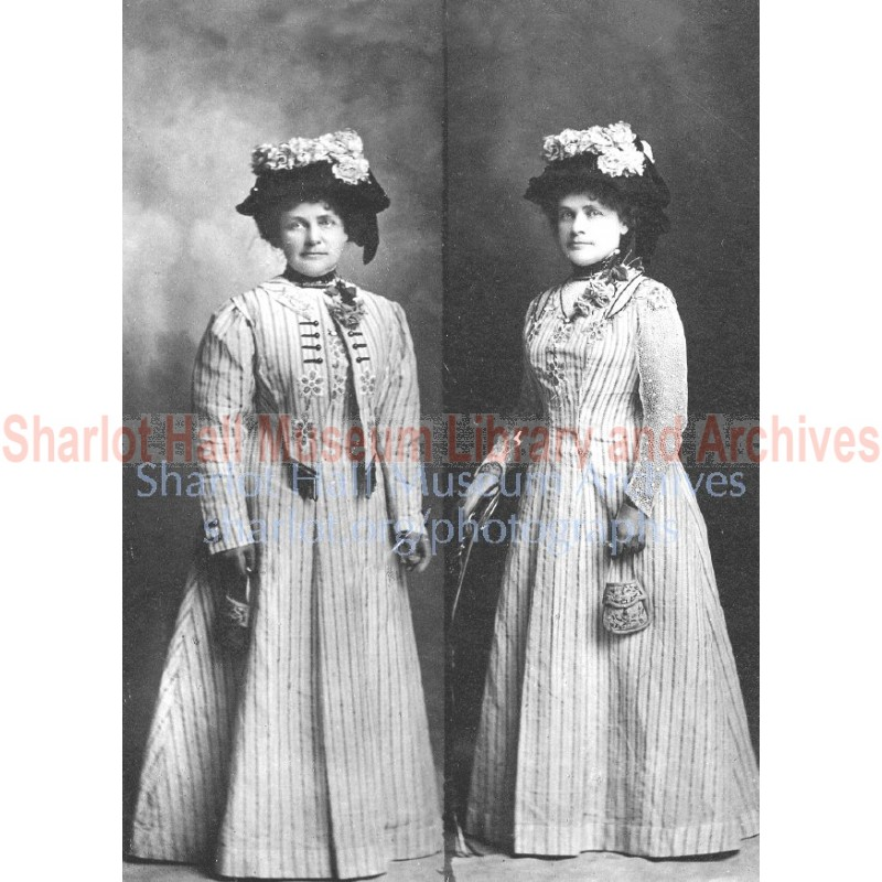 Two views of Sharlot in long striped dress