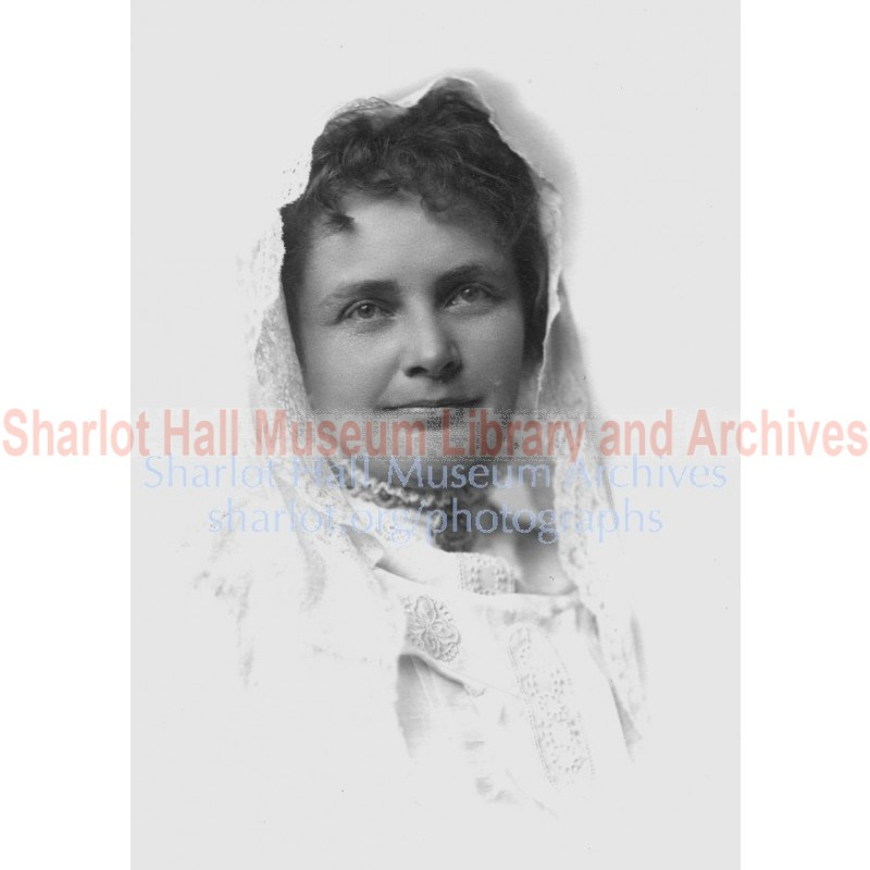 Sharlot M. Hall with lace shawl on head