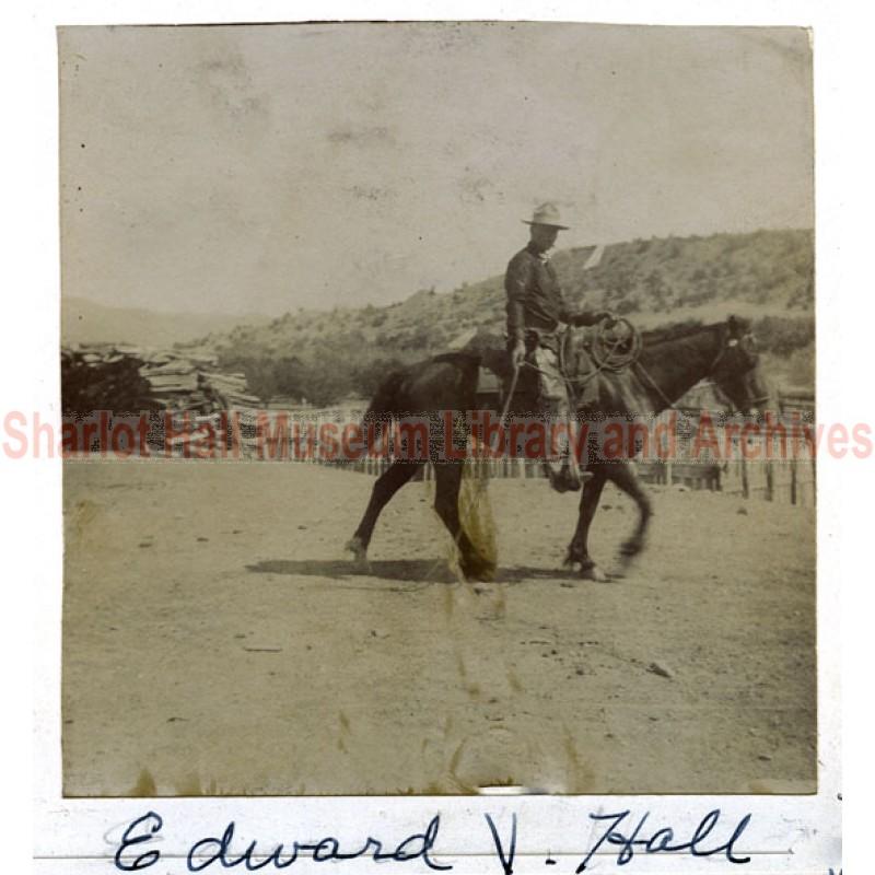 Edward Hall on horseback
