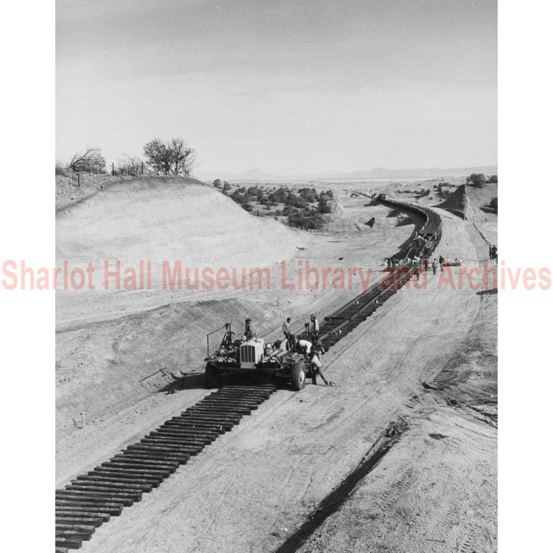 Railway Crews Work on the Abra-Skull Valley, Arizona Line of the Santa Fe Railway