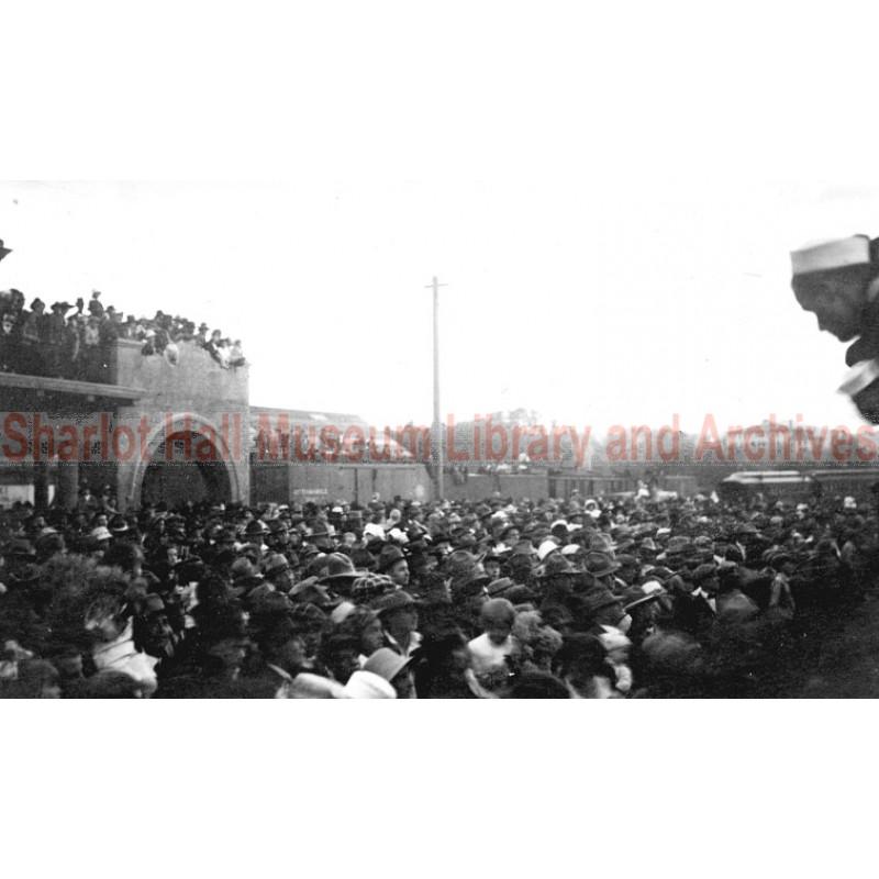 Prescott Railroad Station, celebrations at end of WWI, Prescott, Arizona