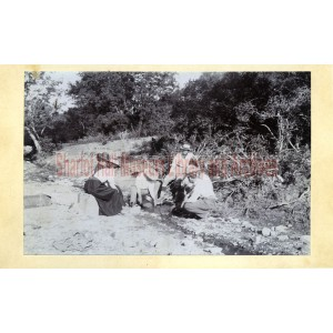 Sharlot Hall, one woman and four men panning for gold at Lynx Creek.
