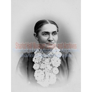 Adeline Hall in dress with long lace collar