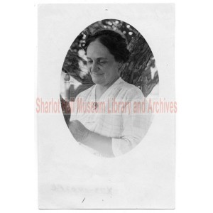 Sharlot M. Hall in front of tree, cameo photo
