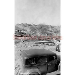 Construction of road and bridge at Clear Creek, Yavapai County, Arizona